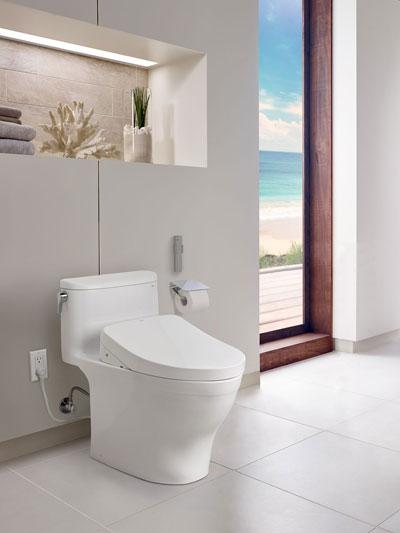 s500e toto washlet with toilet into bathroom